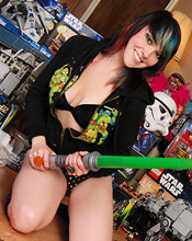 Sabrina Plops Down Amidst A Sea Of Action Figures And Other Awesome Toys For This Unique Set That Shows Off A Bit Of Her Geeky Side - Picture 5